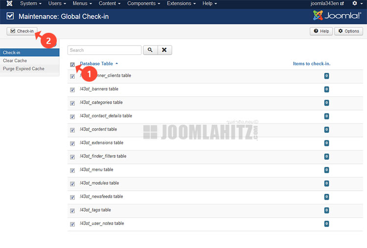 Global Check-in ใน Joomla